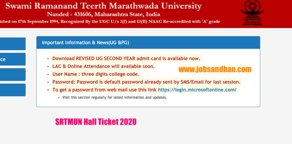 srtmun admit card download links 2020 ba bsc bcom bed med 1st 2nd 3rd year hall ticket online
