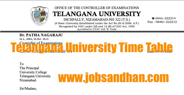 telangana university exam time table 2020 download ug pg online semester exams tuexams.org