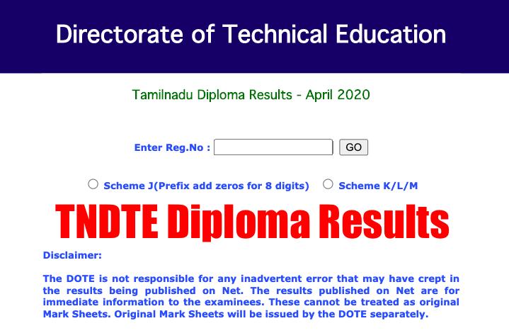 TNDTE Diploma Results 2020 tndte.gov.in DOTE Semester Exam