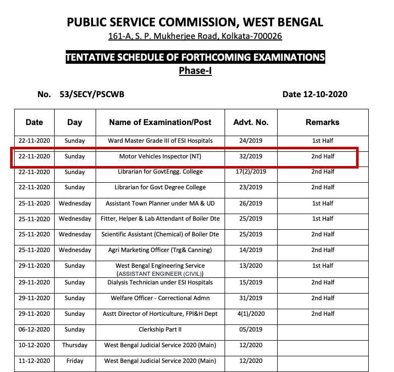 wbpsc mvi nt admit card release notice