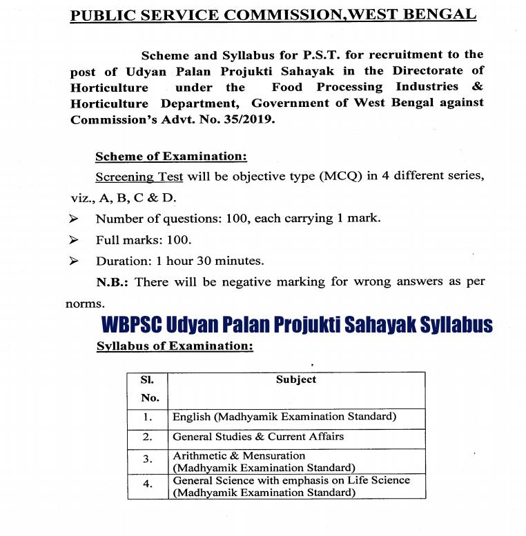 wbpsc udyan palan projukti sahayak syllabus 2020 pdf download link out